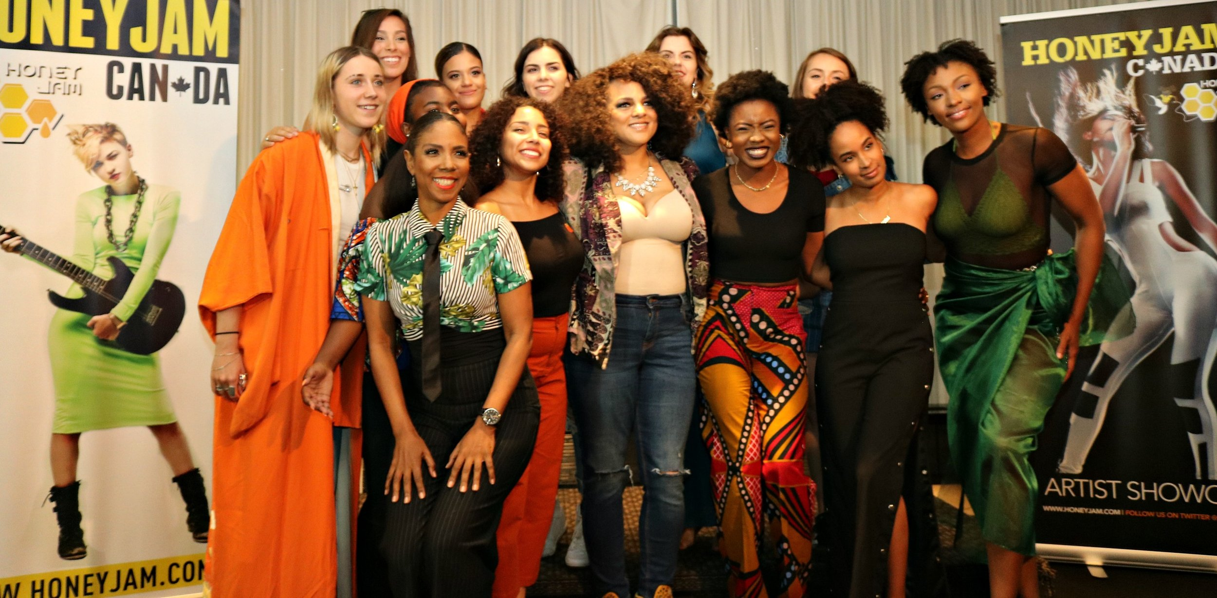 Marsha Ambrosius (c) and Ebonnie Rowe (with tie) with some of the Honey Jam participants