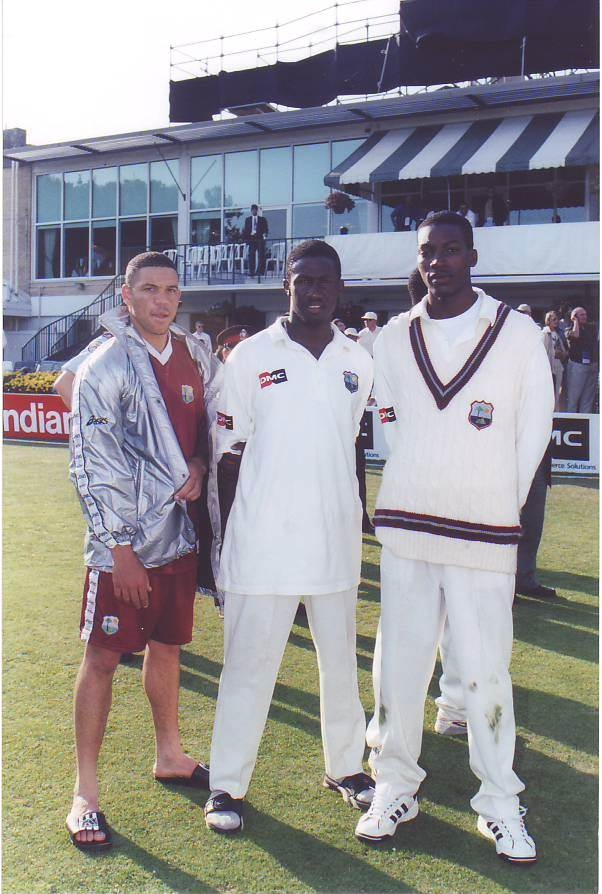 Chris Gayle (r) on debut in Toronto in 1999 with Ricardo Powell (l) and Wavell Hinds