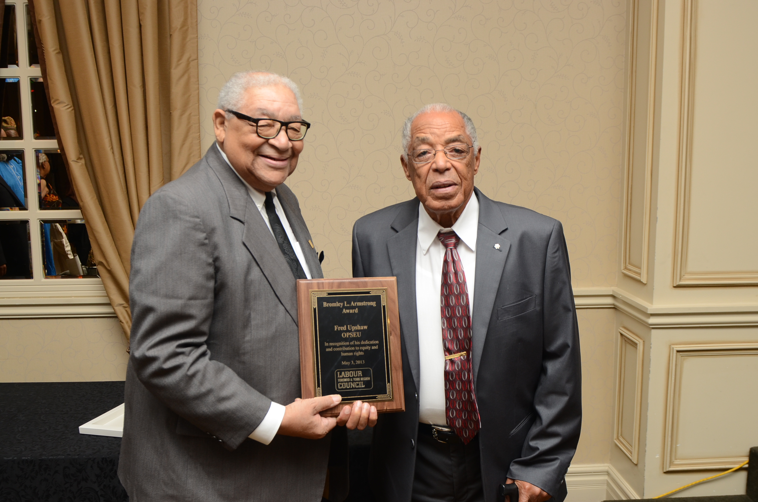Bromley Armstrong presented the award bearing his name to the late Fred Upshaw in 2013