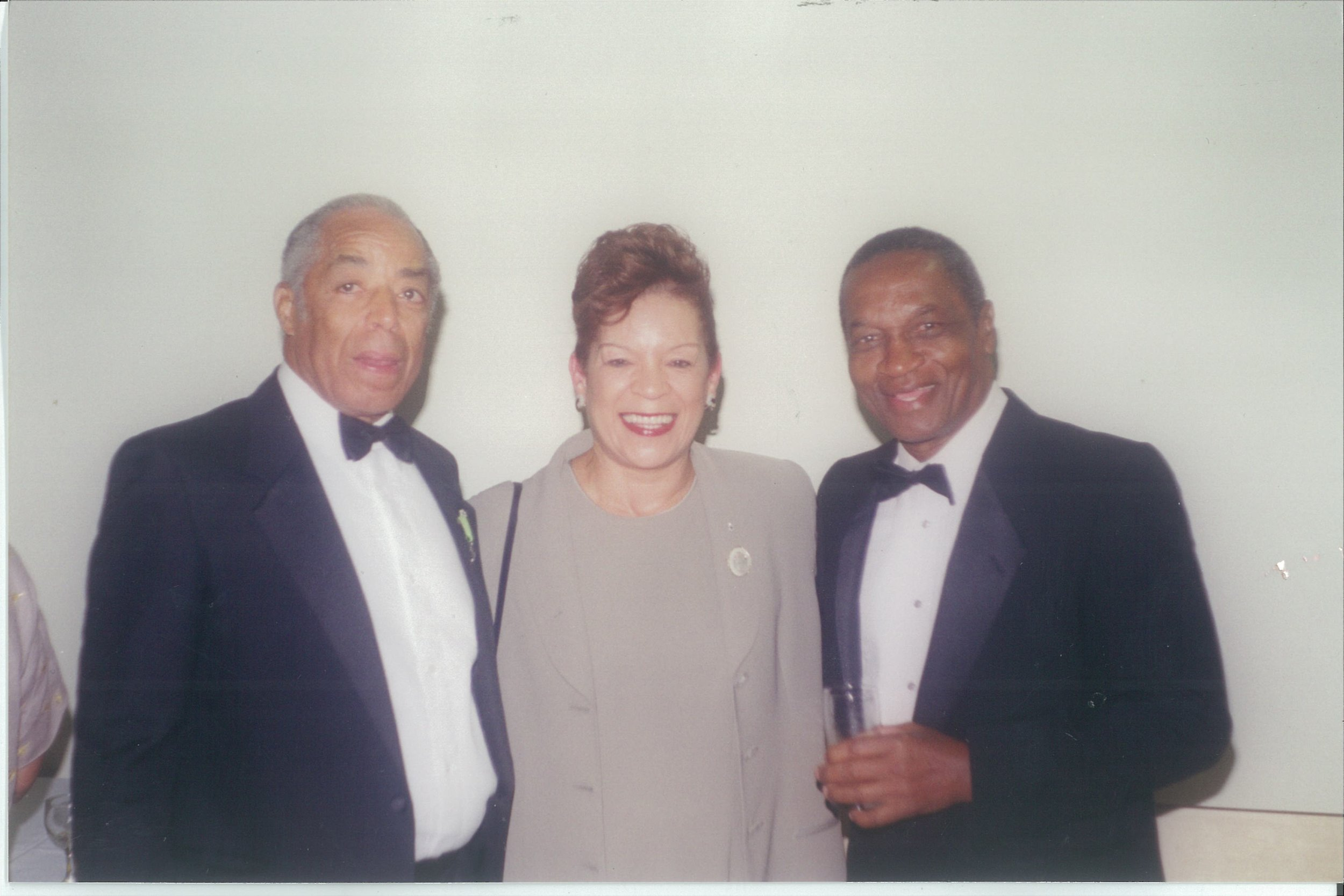 Bromley Armstrong with the JCA's first president Roy Williams (r) and the late Bev Mascoll
