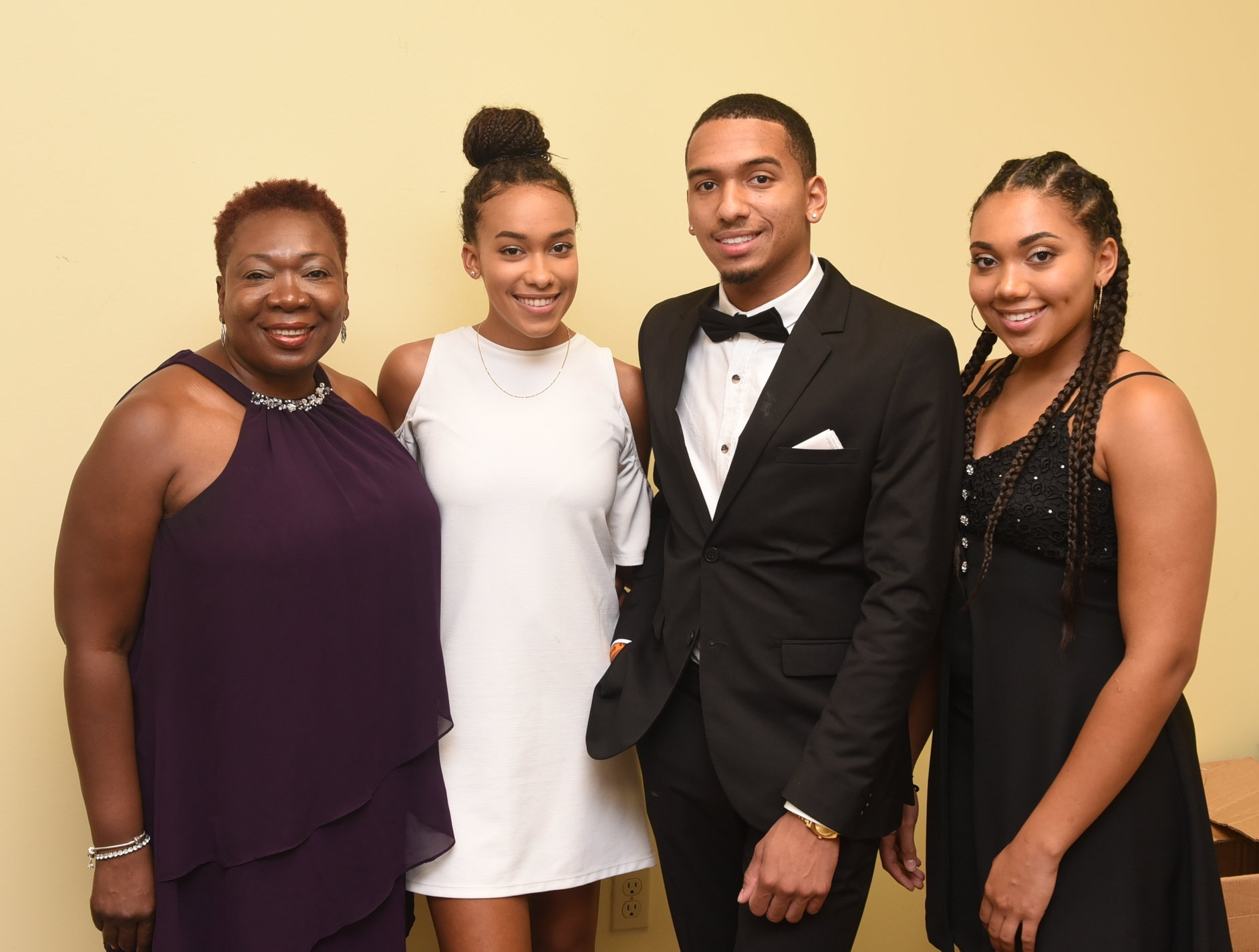 Margarette Johnson and triplets Janelle, Marcus and Lalique Allan