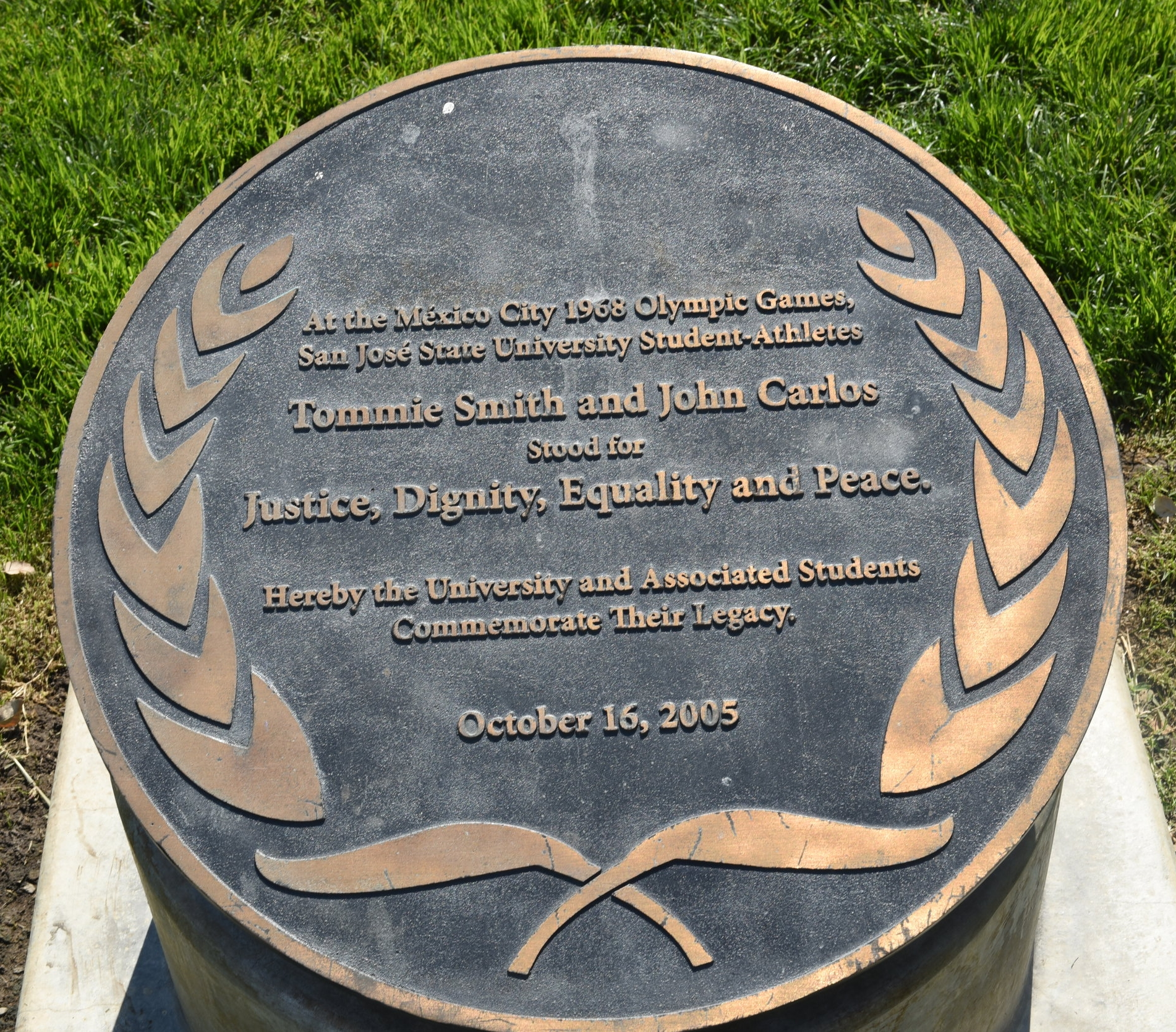 The plaque is beside the 22-foot statue in the centre of the San Jose State University campus