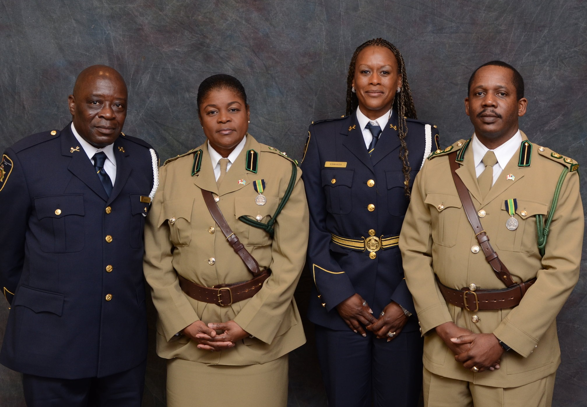 Jacqueline Edwards (second from right) with CSC recruitment officer Gideon Nekou (l) and visiting Bermuda correctional officers Bernadette Murray & Doan Cleare