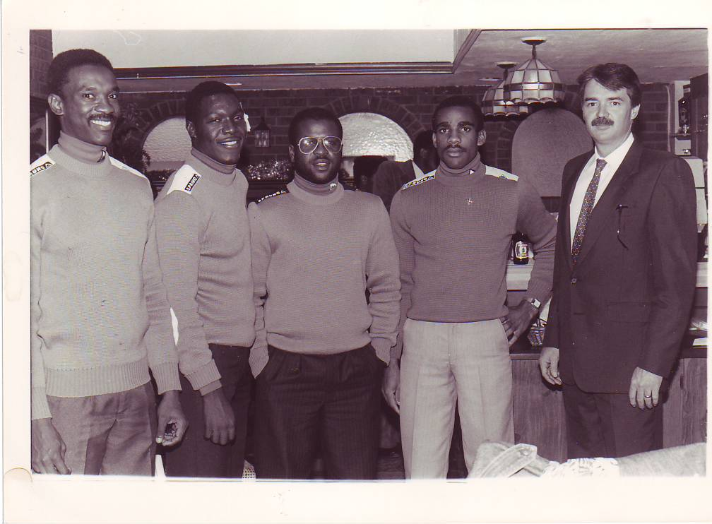 Jamaica's first bobsled team members Dudley Stokes (l), Devon Harris, Michael White and Samuel Clayton with co-founder George Fitch