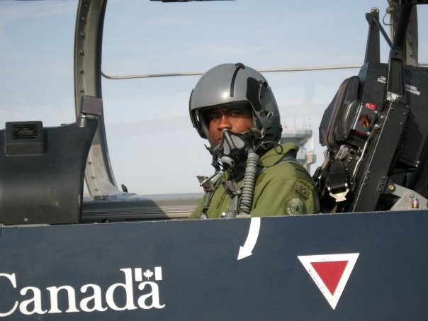 Damar Walker flying with the Canadian military