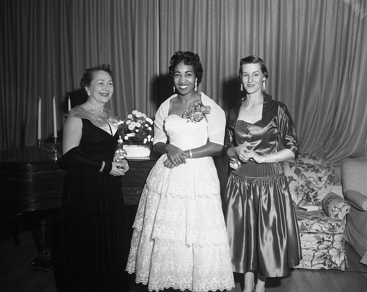 Violet King-Henry was the guest speaker at the Beta Sigma Phi pledge banquet in November 1955