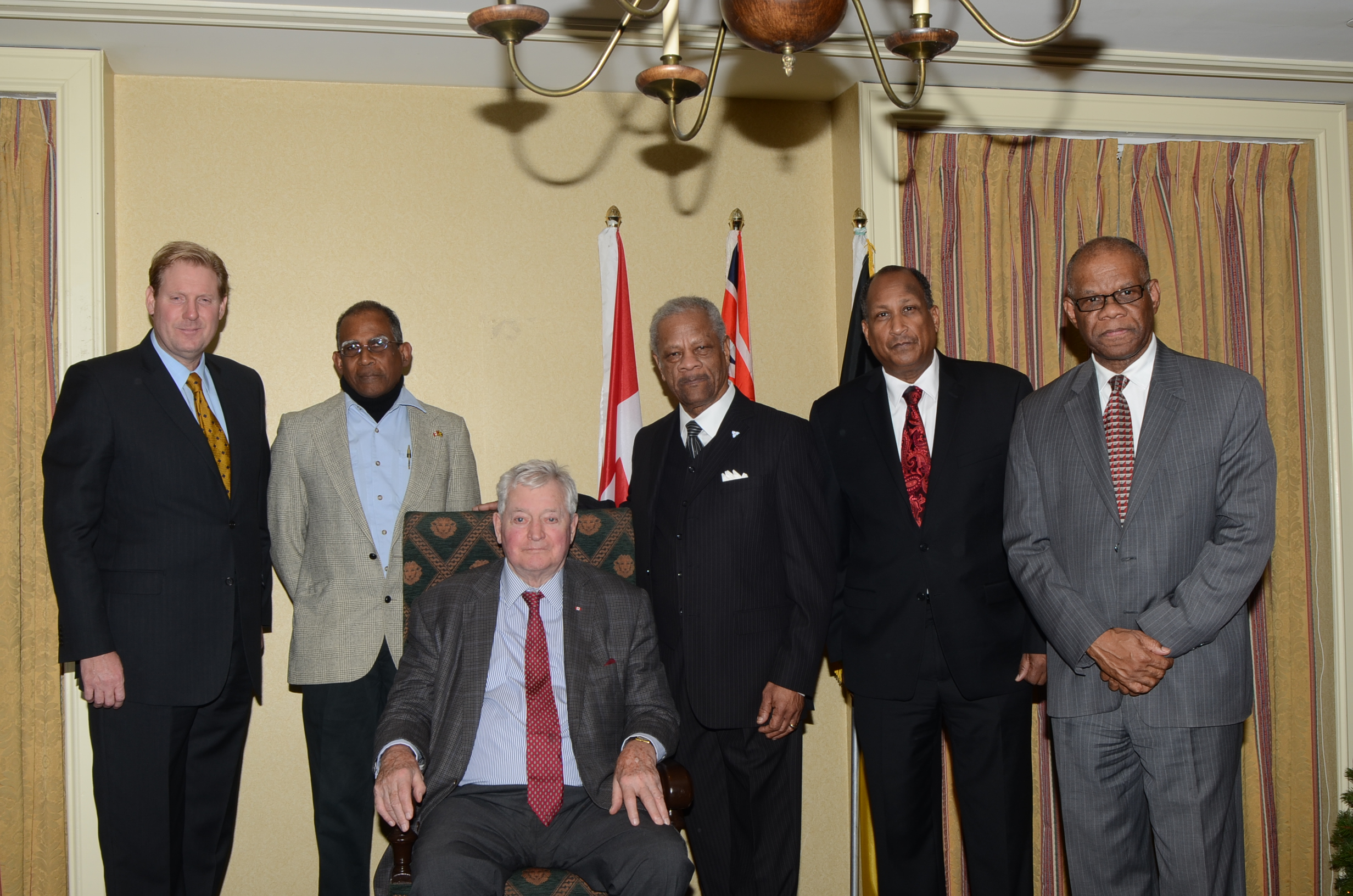 Howard Shearer (second from left) with Marc Kealey (r), Franklin McDonald, former Canadian Prime Minister John Turner, Rev. Audley James and former Jamaican Consul General in Toronto George Ramocan were part of the Jamaican-Canadian Initiative for Disaster Resilience & Response.