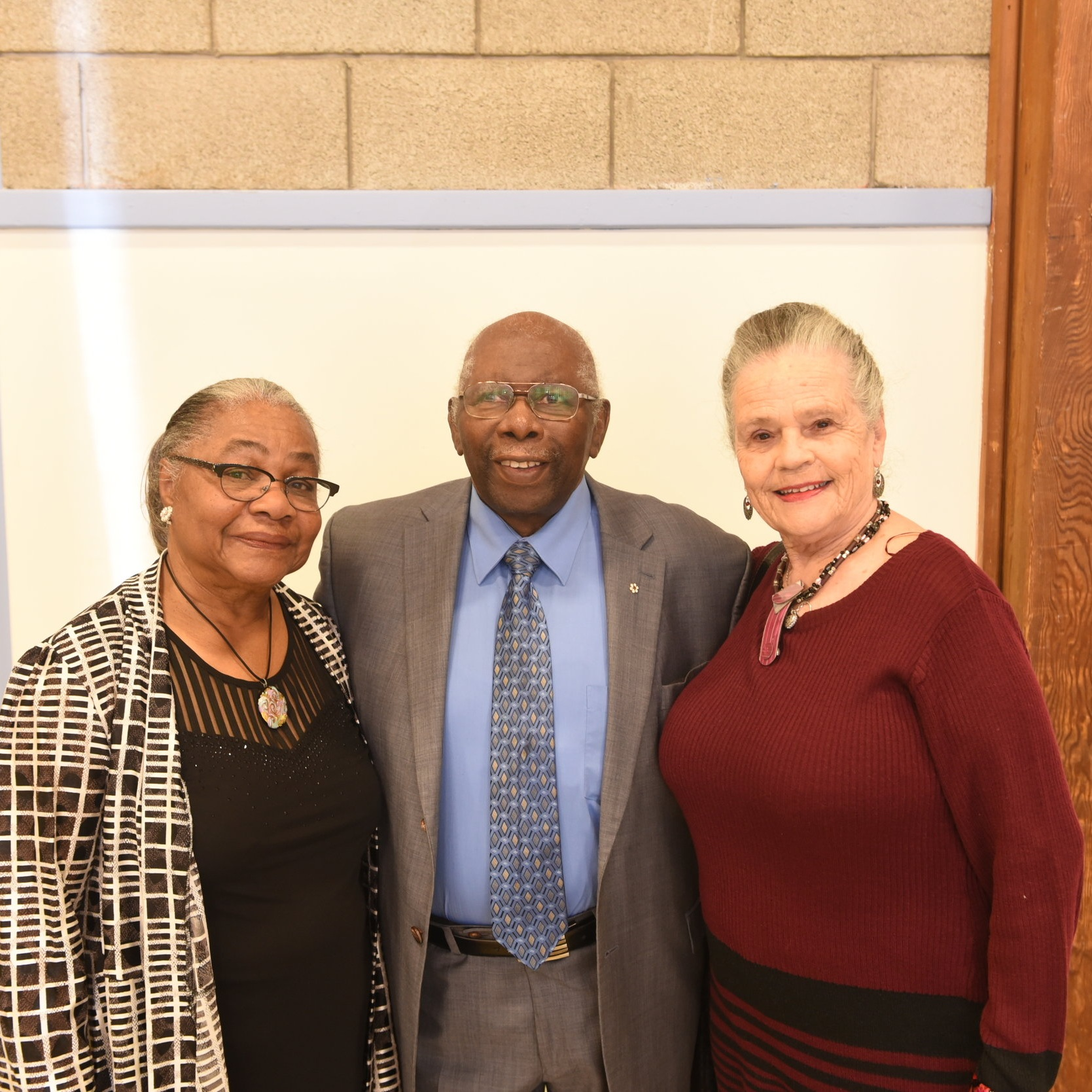 Lauris DaCosta (l) with Oliver Jones and his wife Monique Leclerc