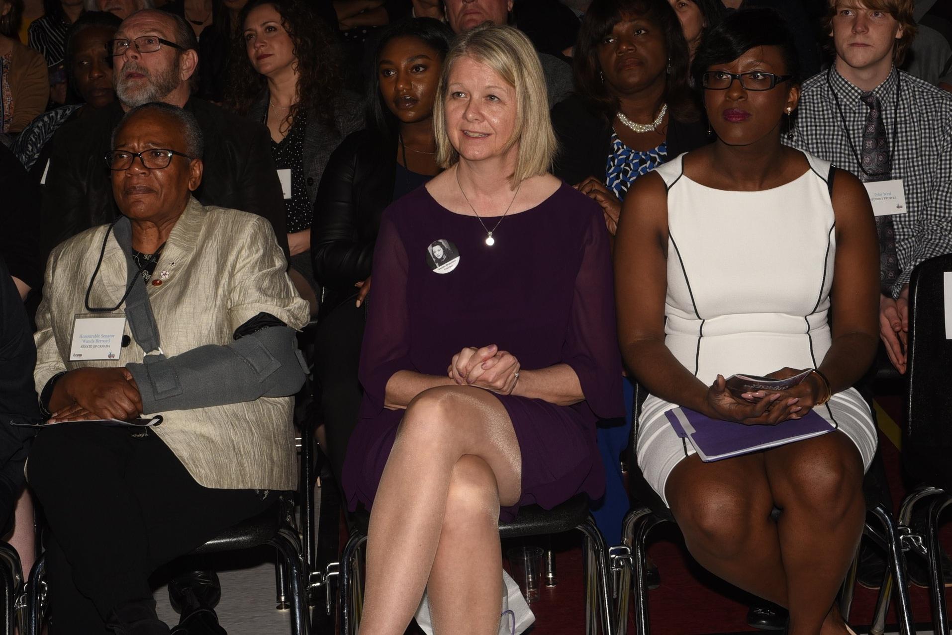 Viola Desmond Principal Jennifer Brusselers (c) with Vice-principal Tina Thomas (r) and Canadian Senator Wanda Thomas Bernard