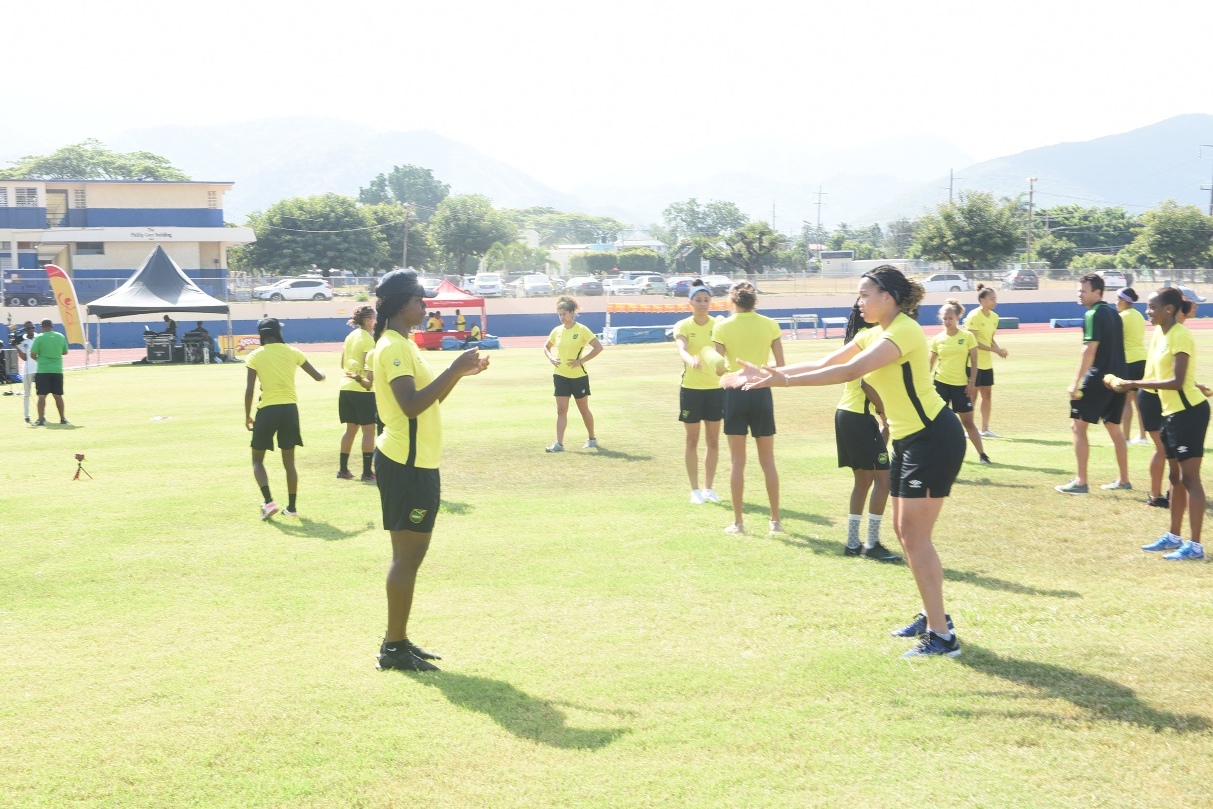 Yazmeen Jamieson and Khadija 'Bunny' Shaw are engaged in a drill at a practice session