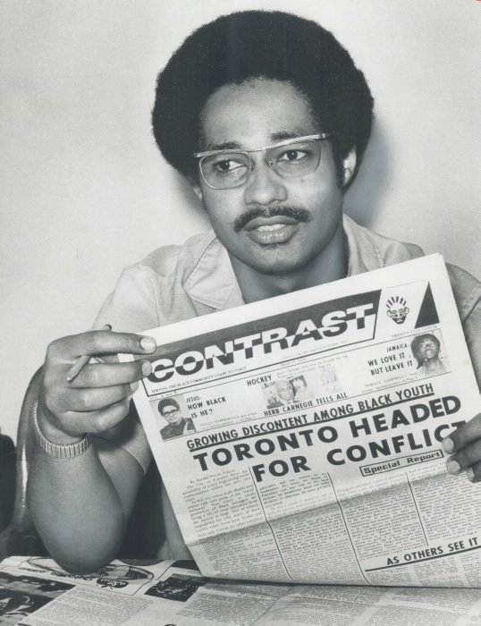 Harold Hoyte with a copy of Contrast