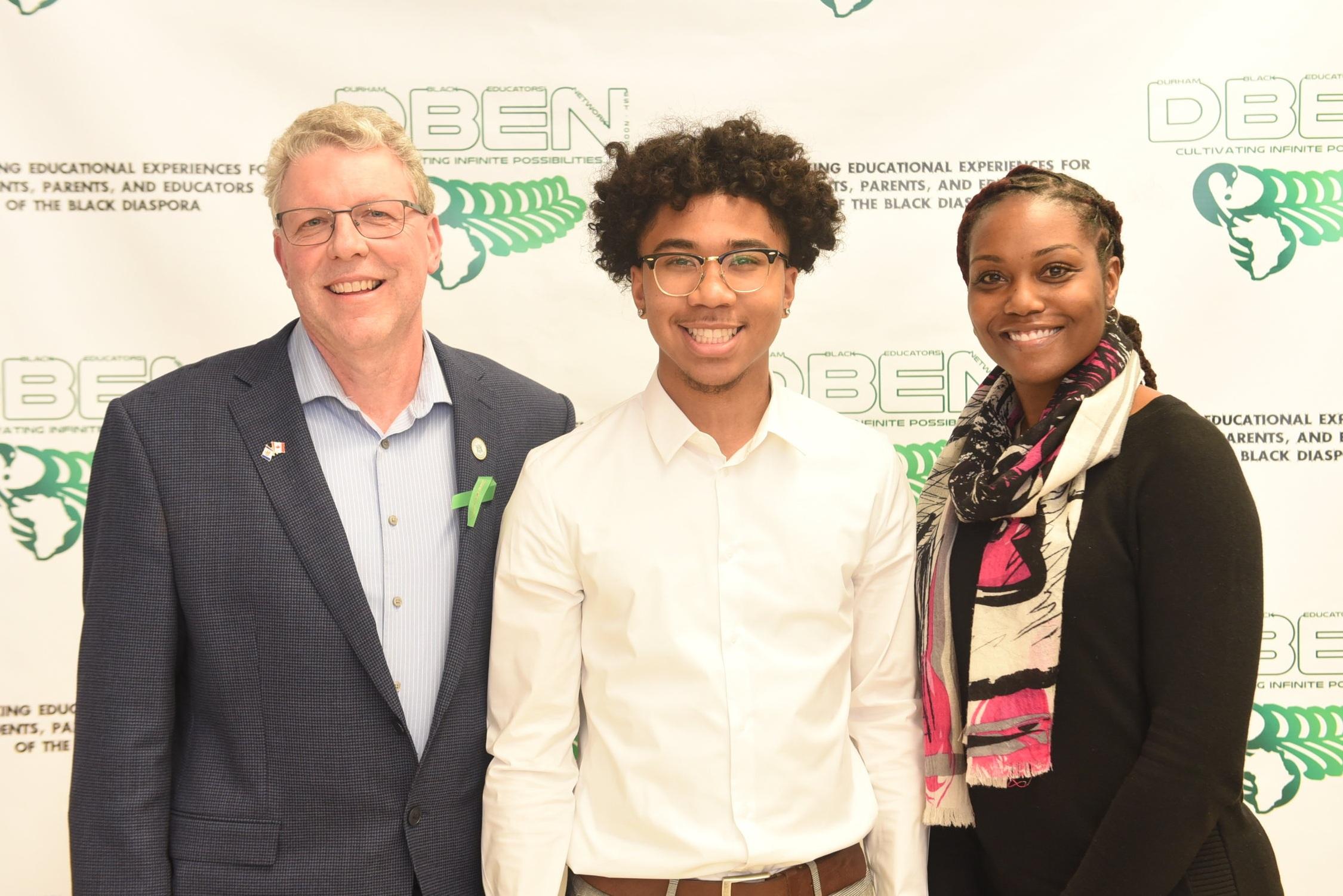 Pickering High School graduate Matthew Murray with his Principal Randy Tennant and Vice-principal Melissa Hunte