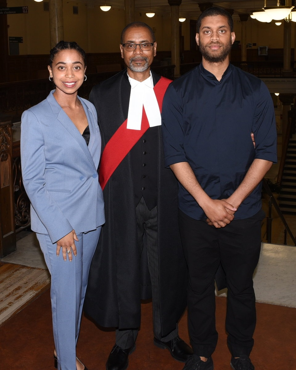 Justice David Maylor and his children Marcus and Nicole