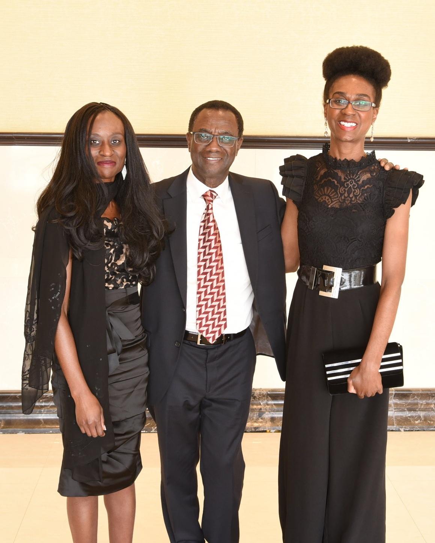 Dr. Mark Awuku and his daughters Linda (r) & Jocelyn