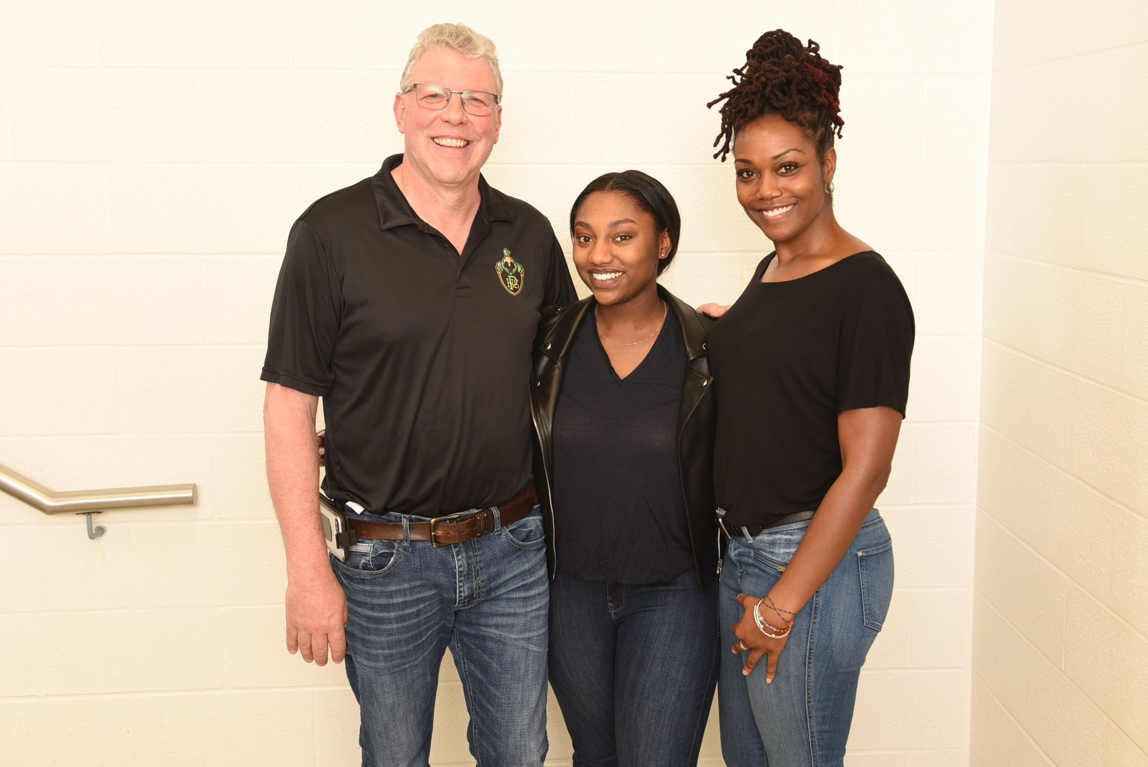 Risann Wright with Pickering High School Principal Randy Pennant and outgoing VP Melissa Hunte