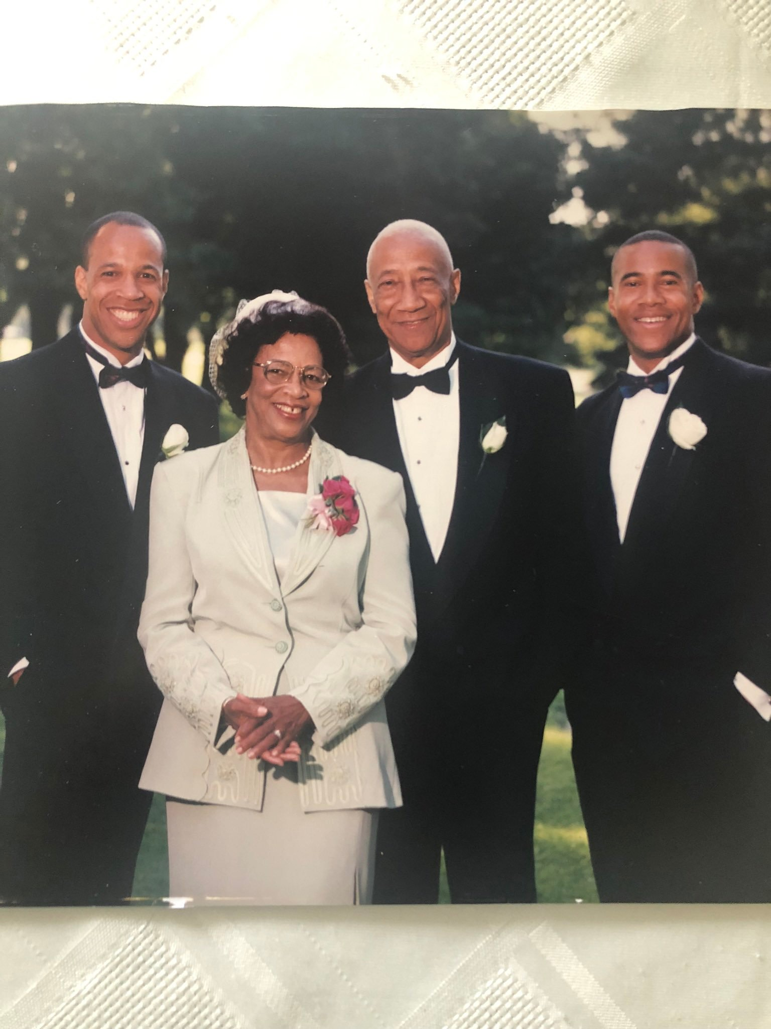 The late Hugh Jones and his wife Marjorie with sons Paul (l) & Mark