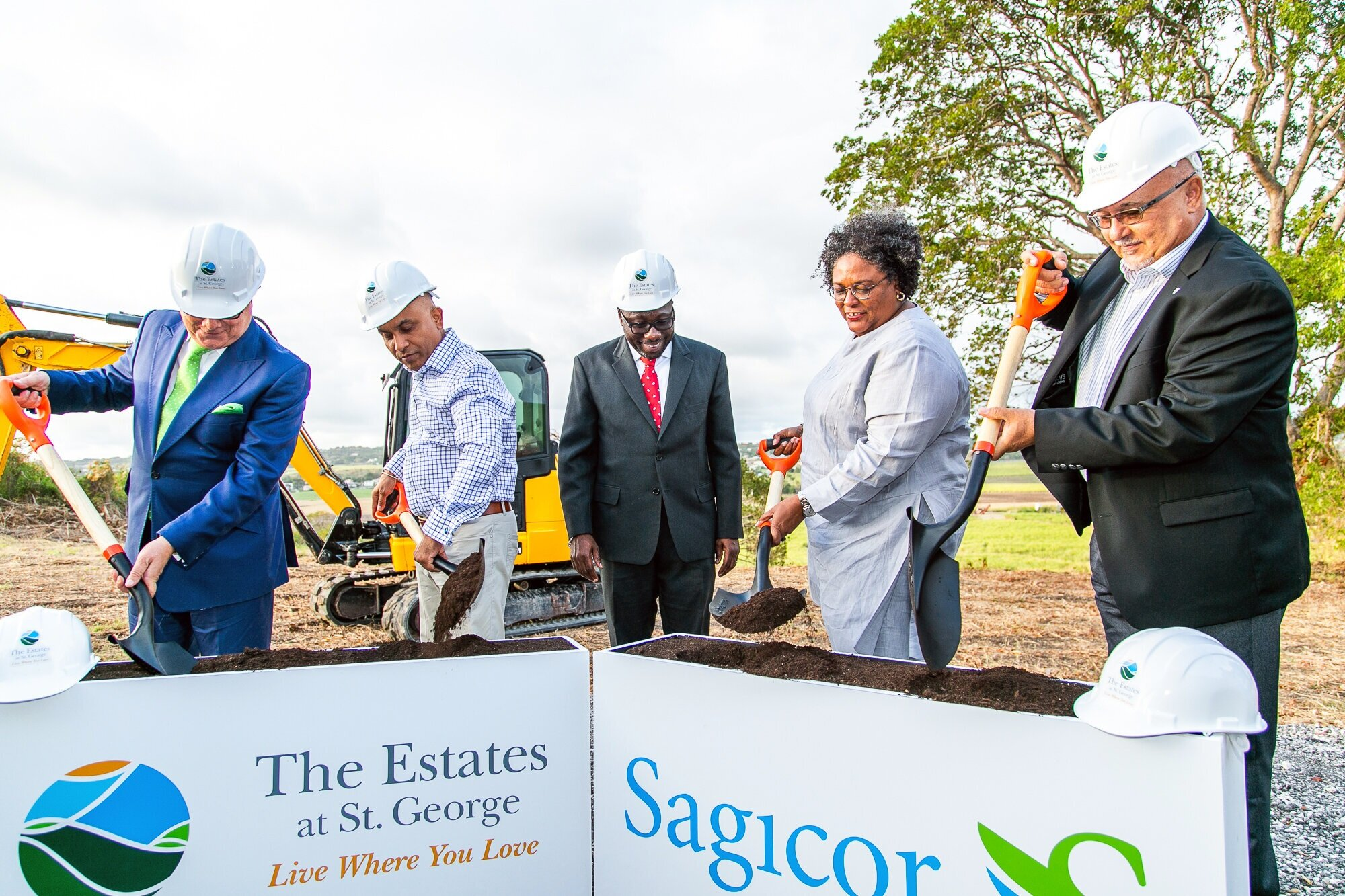 Barbados' Prime Minister Mia Mottley took part in the groundbreaking ceremony