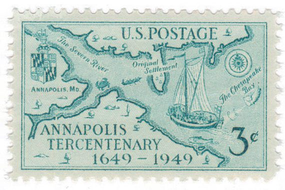 This one includes beautifuldetailing on the map. Lots going on, but still easy to read at a small scale. (via Mystic Stamp Company)