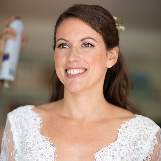 My stunning London Bride having her final spritz of hairspray before leaving for the ceremony. Such a beauty!