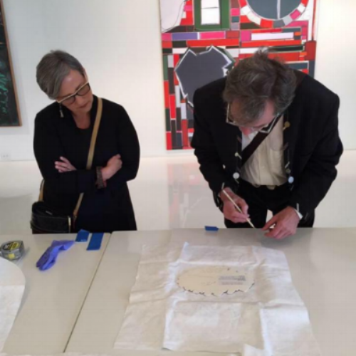 May,  2016  With artist Richard Tuttle as he confirms the hang height of one of his works in the Linda Pace Collection,San Antonio, Texas