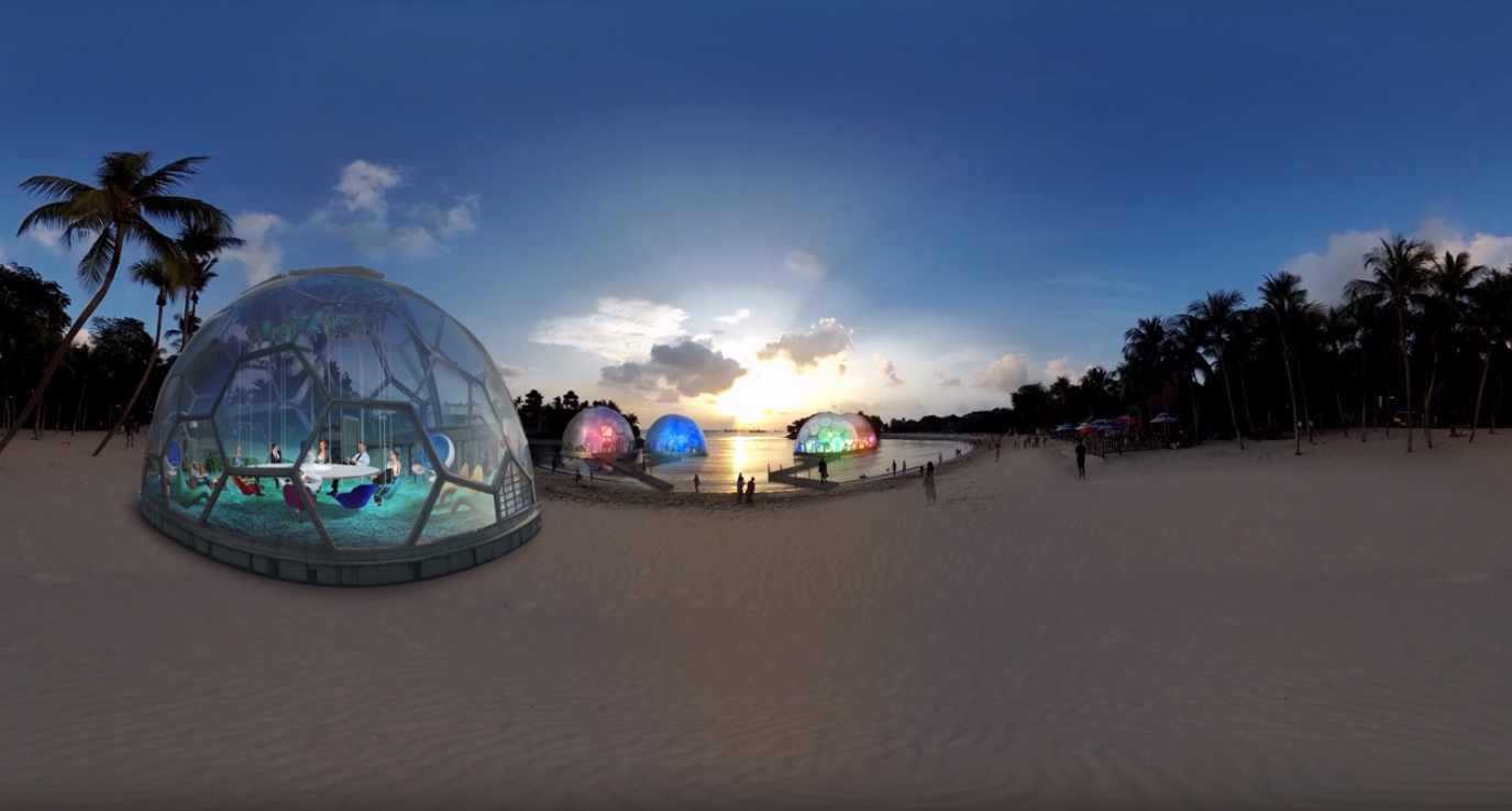 Singapore beach after overlaying our virtual reality content.