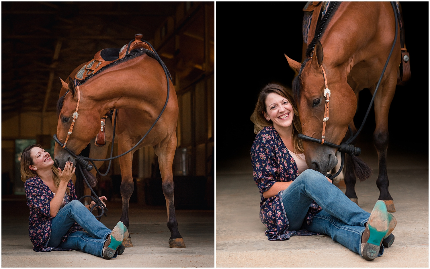 Bay Western Pleasure-bred Quarter Horse and his rider photographed in Argyle, Texas, by Rachel Griffin Photography.