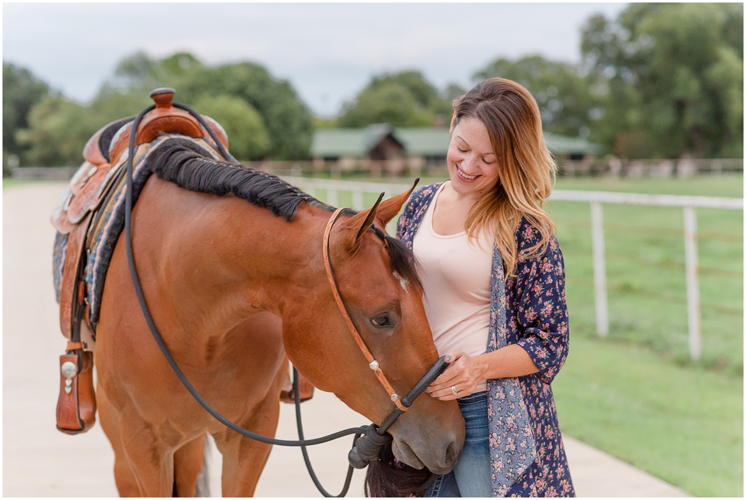 Rider and her Bay Quarter Horse stand for an Equine Portrait Session