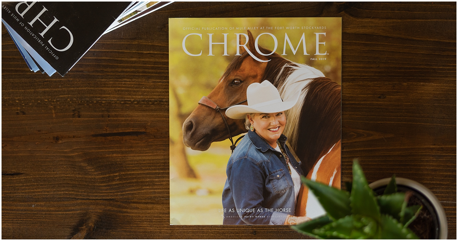 Oklahoma Horse Photographer Rachel Griffin has work featured on the cover of American Paint Horse Association's Chrome magazine