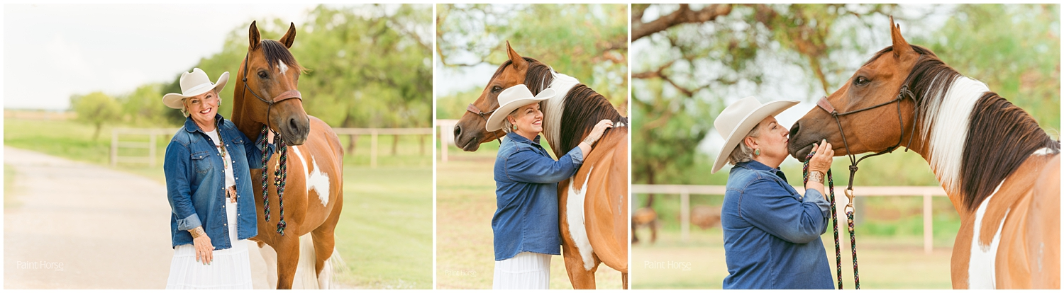 Jean Prescott and her Paint Horse Max. Images by Oklahoma Horse Photographer Rachel Griffin for APHA's Chrome Magazine