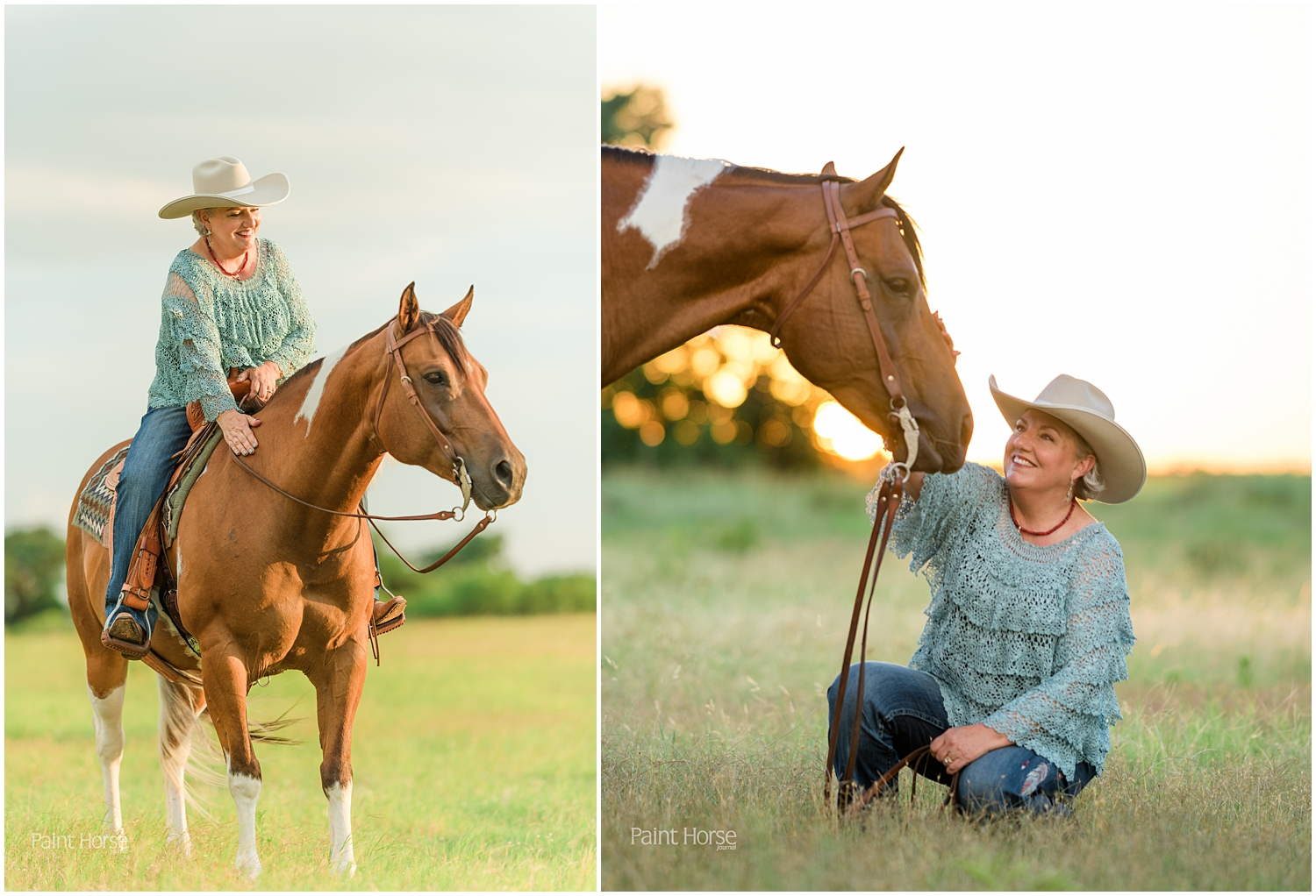 Jean Prescott and her Paint Horse Max. Images by Oklahoma Equine Portrait Photographer Rachel Griffin for APHA's Chrome Magazine