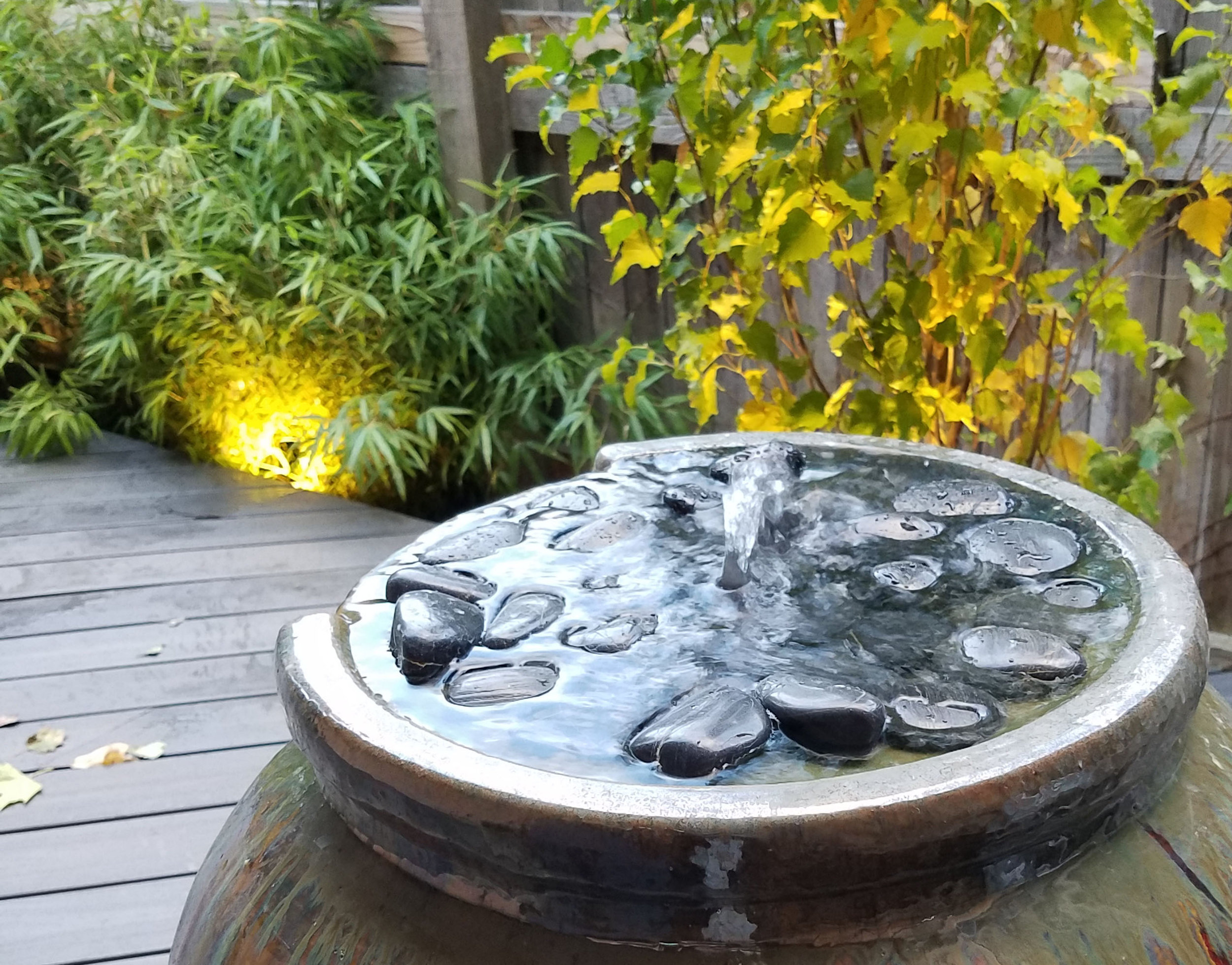 A WATER FEATURE PROVIDES THE MUSIC TO THIS TRANQUIL SCENE