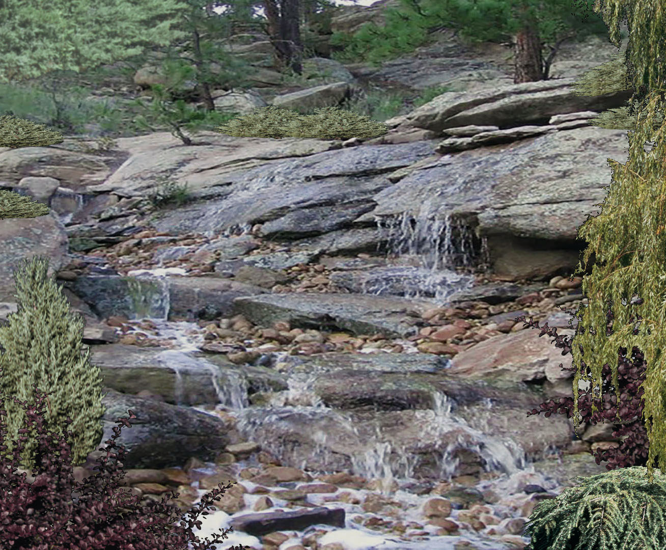 NATURALISTIC WATERFALL AND POND
