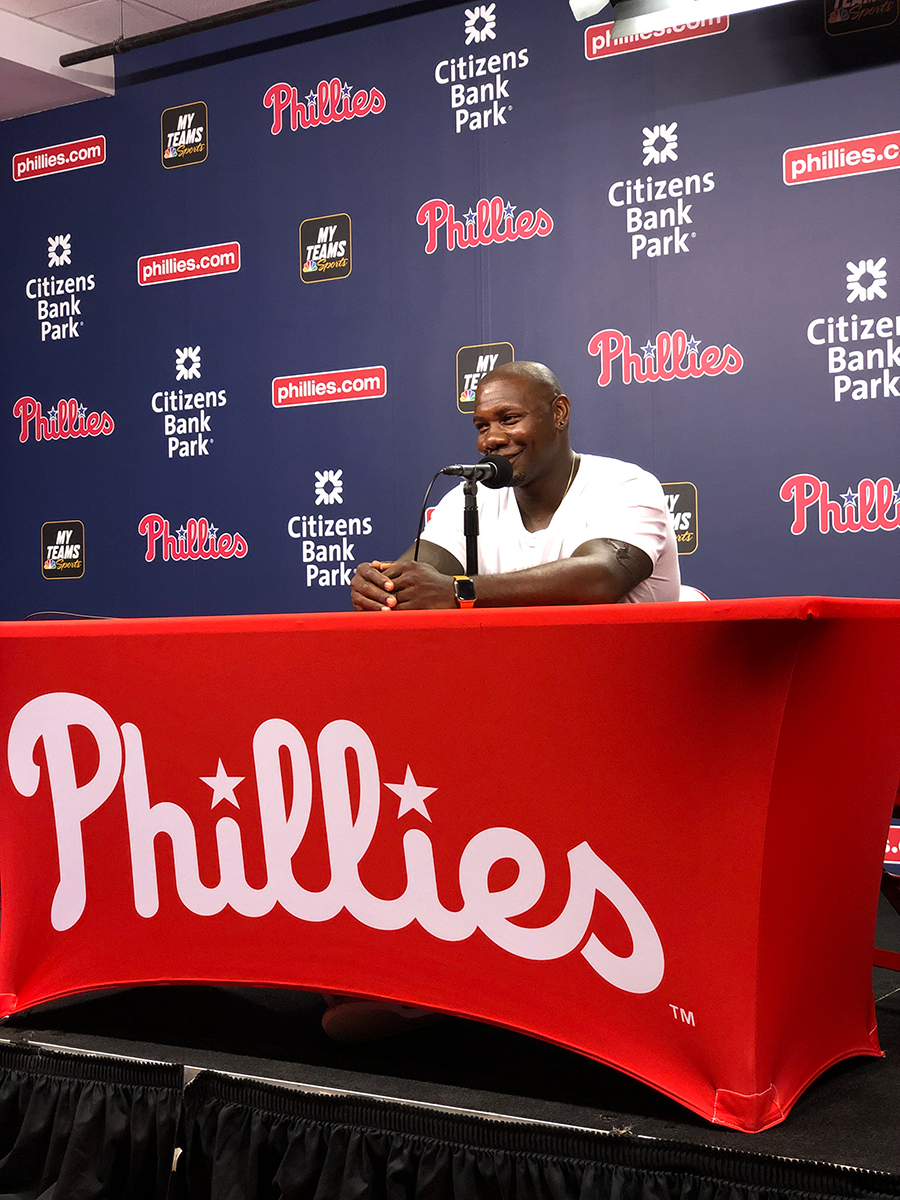 Ryan Howard addresses the press on sunday, july 14