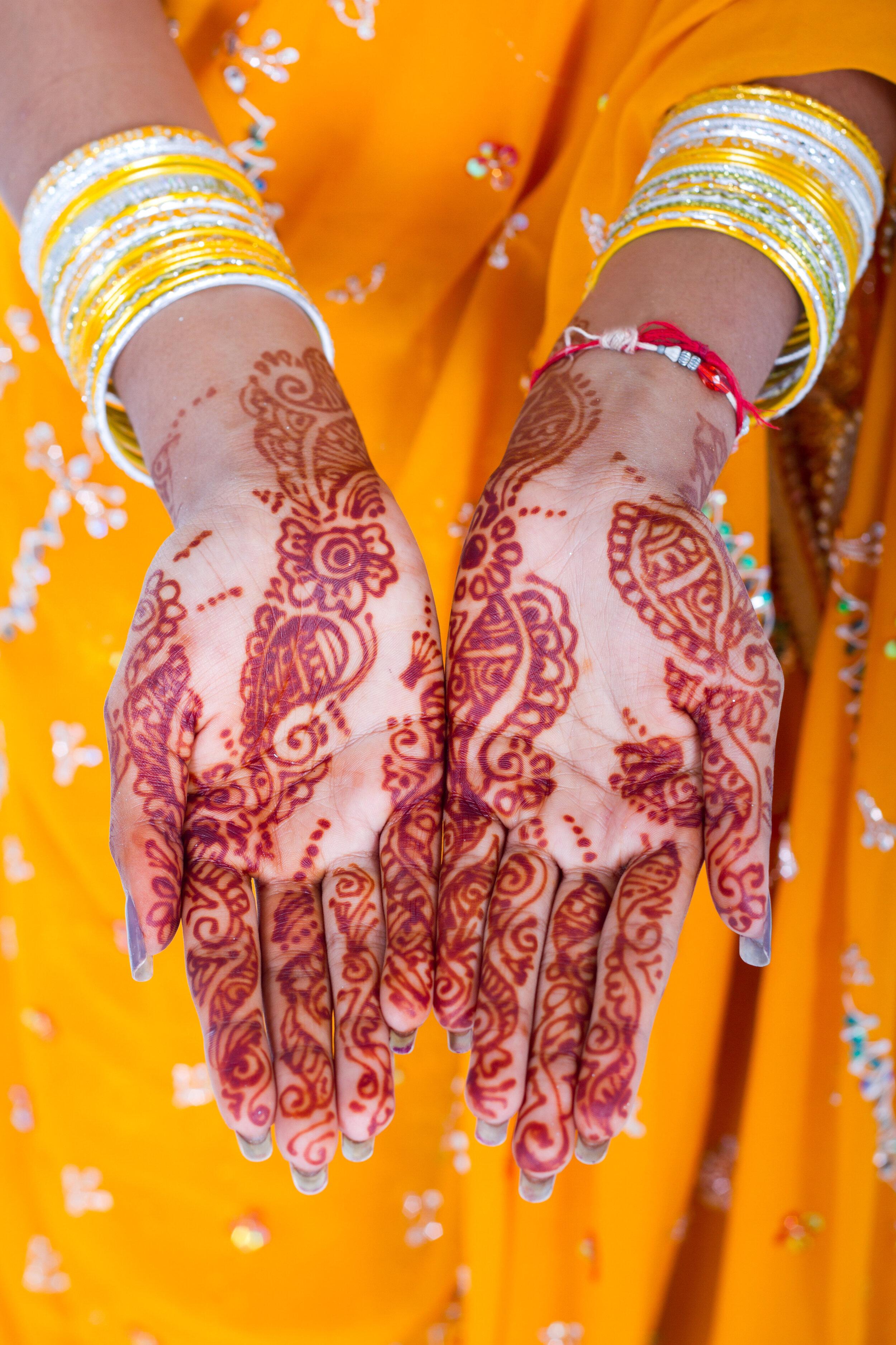 indian henna tattoo on hands
