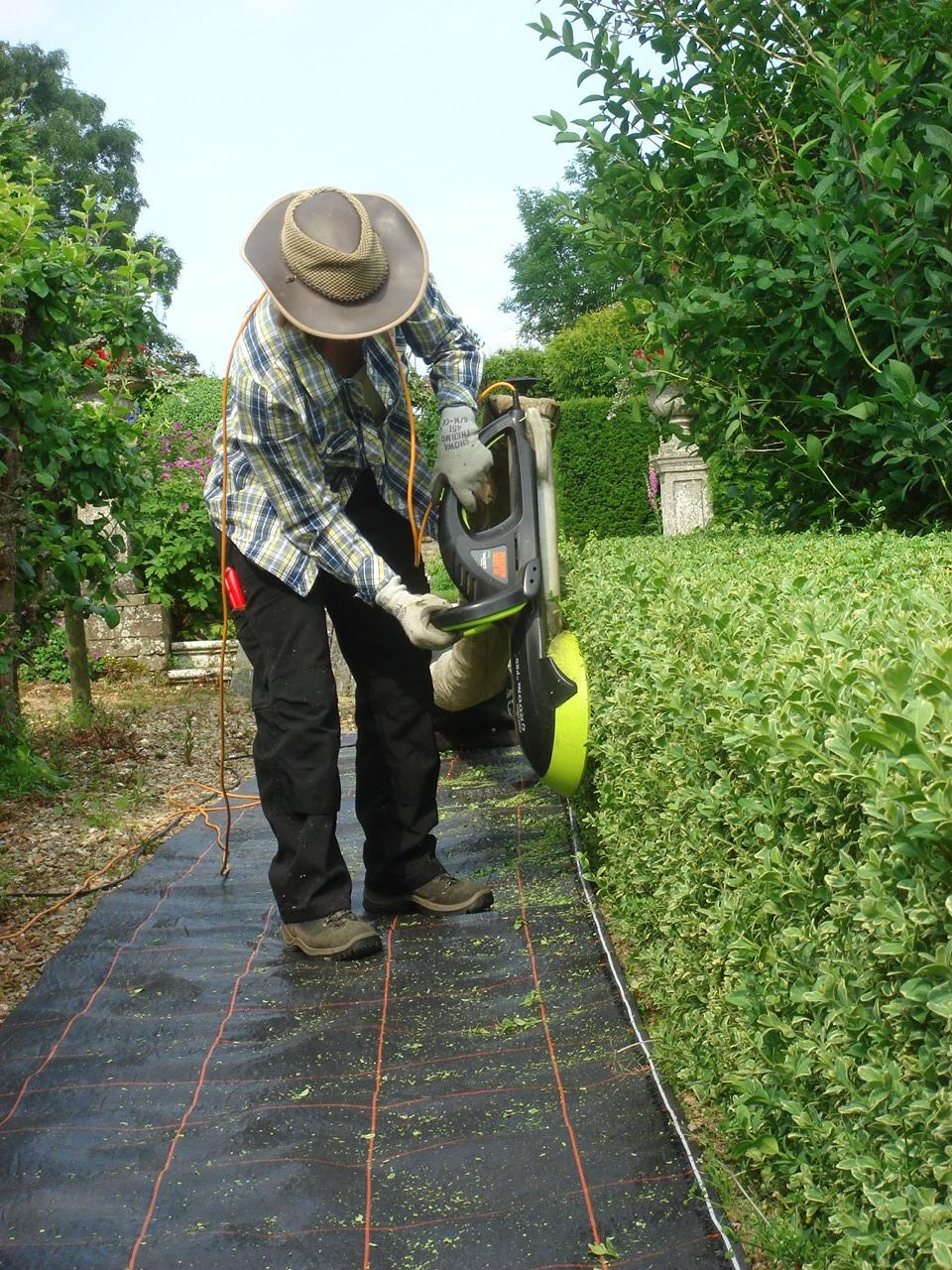 Millie using the 'Garden Groom' hedge trimmer during her gardening apprenticeship. Image supplied by Millie.