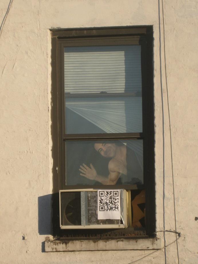 neighbor's window with painting