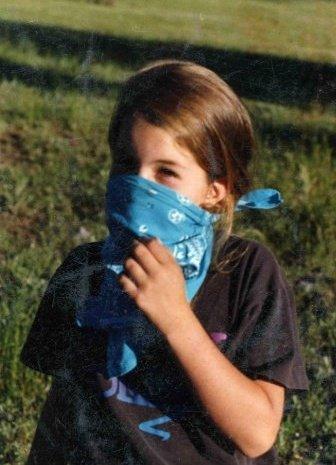 Lara at the sheep camp, around 1994