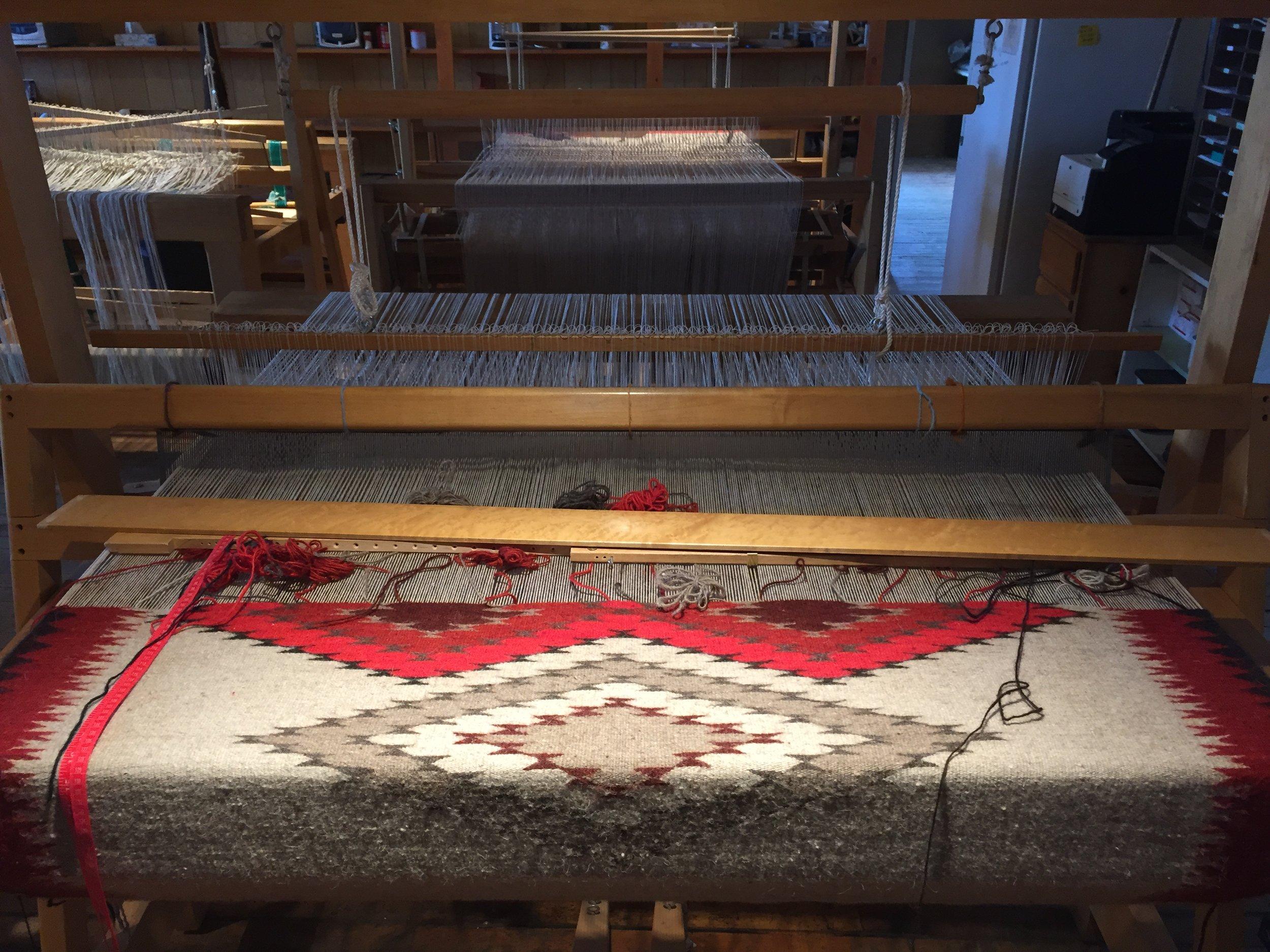 Molly's Churro tapestry on the loom