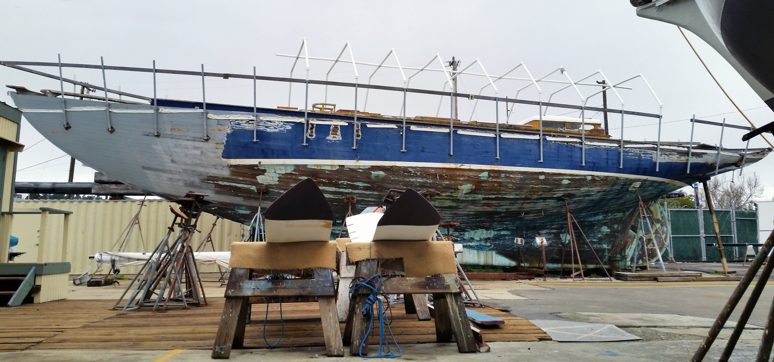 Gorgeous lines on this 73-foot double-headed yawl. She's been residing in KKMI boatyard for more than 16 years; 11 of which under title by the boatyard. Her prior owner was pleased with front of boat repairs, then requested additional restoration commence.