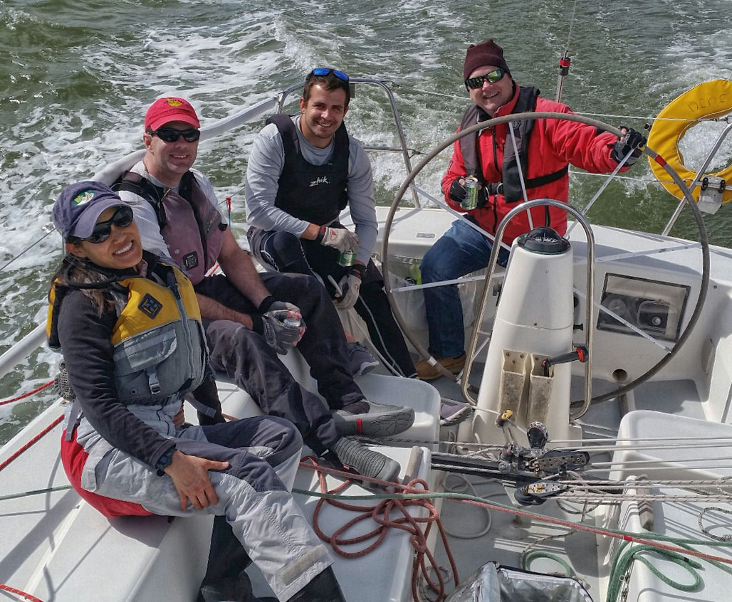 That's one good looking crew at sandwich break during practice on San Francisco Bay. Next week we're heading to J/Fest, hosted by the St. Francis Yacht Club.