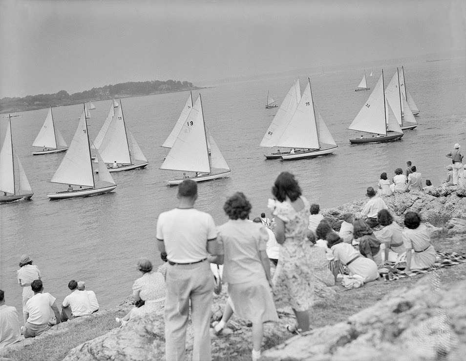 1939 Marblehead Race Week photo as found on http://classicsailboats.org  The International 110 was introduced at the 1939 Marblehead Race Week Regatta. Ray Hunt raced the boat around the coarse beating everyone boat for boat except the International One Design. With a price of $480.50 with sails the demand for this vessel began in earnest.