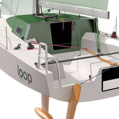 A 100% recyclable sail-racing boat, the Mini650, is designed to race single handed across the Atlantic.
