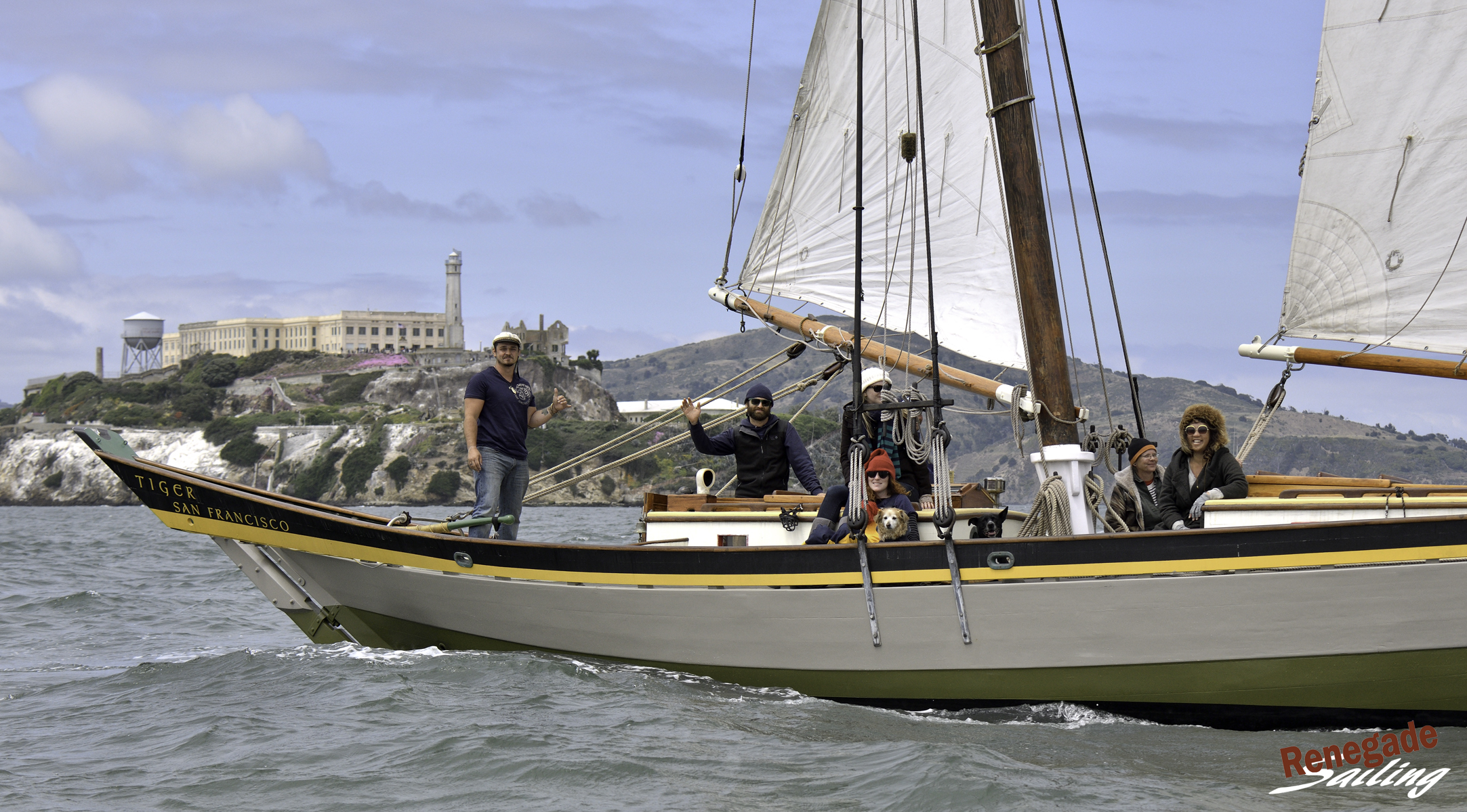 1830 gal  Tiger,  built in Essex, Massachusetts, is a 60-foot pinky schooner. She was used for commercial fishing of mackerel and cod until roughly 1875. Finely restored, she now makes her home in San Francisco and frequently welcomes charter guests for day sails.