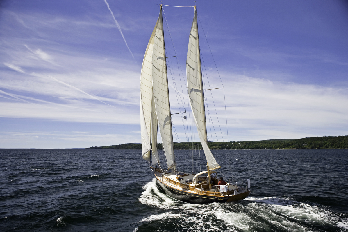 Wings of Grace , which has carbon fiber mast faux finished to look like wood, was crafted by French & Webb. She was built at their shop in Belfast Maine, 2005.