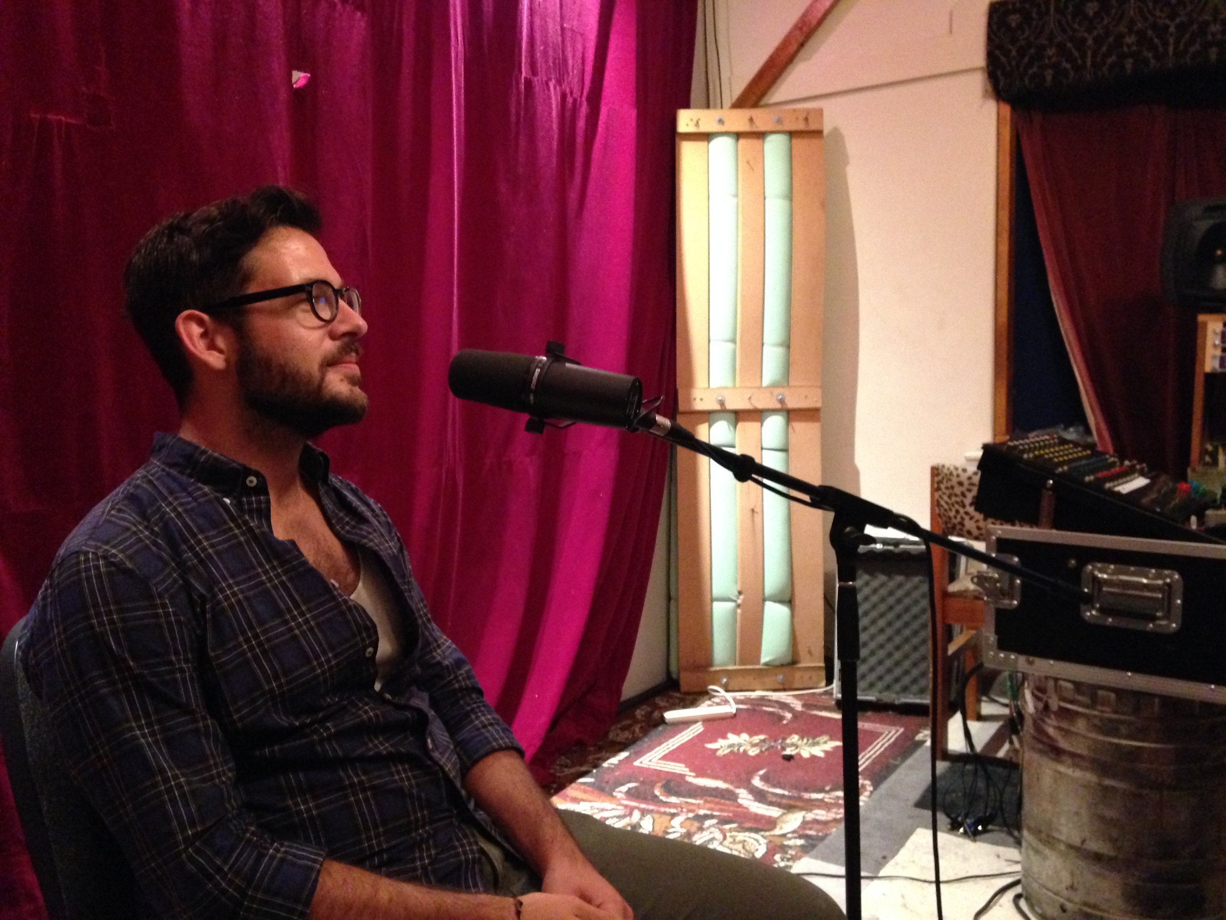 Caspar soaking in Nick Herrera's Binge Thinking in his own studio
