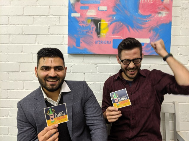 Caspar has never been so excited about tax! Pictured with Yash Rathi at  Youthworx  in Brunswick.