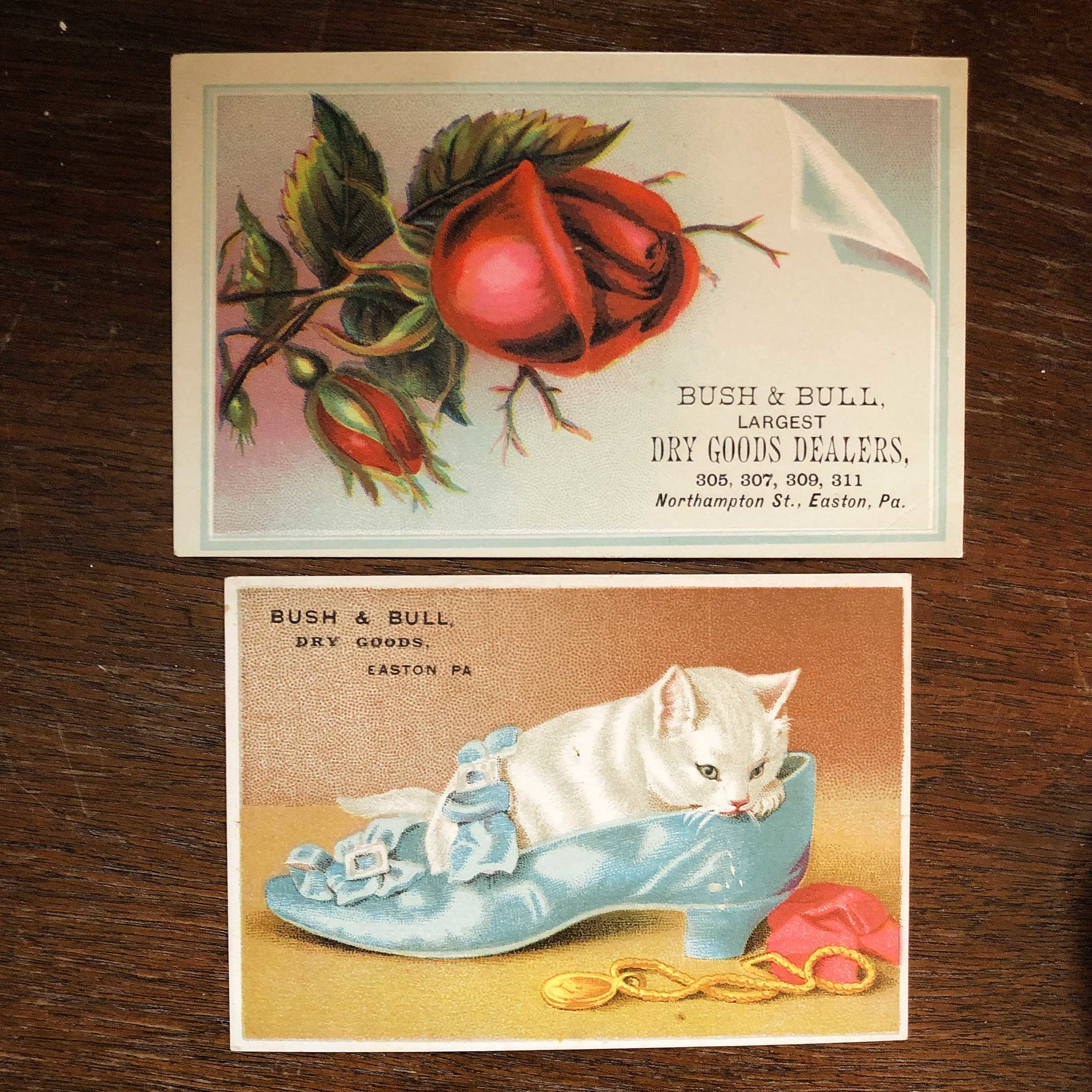 A pair of original Bush & Bull trade cards, given away to customers at the department store