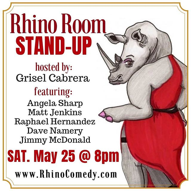 It's Stand-Up Saturday at Rhino: join us tonight at 8 for some drinks and a hilarious show!! 🦏🍻🍷