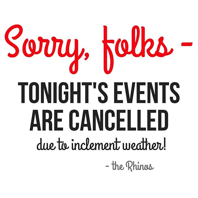Due to the scary weather ⛈️ happening outside, we are cancelling our normally scheduled Thursday events! Please stay safe out there, friends!☔