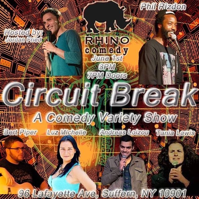 It's a packed weekend of Standup and Improv this weekend!  Catch Open mics at 8 & 10:30 PM Tonight!  And tomorrow Brace yourself for the multimedia comedy variety show that is Circuit Break. Featuring all of the people you can swipe through 😏  Improv Duets at 10 PM . . . . . #rhinocomedy #circuitbreak #latenighthump #sketch #standup #improv #standup #standupcomedy #suffern #comedyclub #tickets #weekend #hudsonvalley #rockland #newjersey #bergen